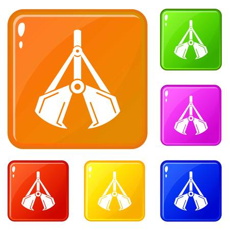 Excavator icons set vector color