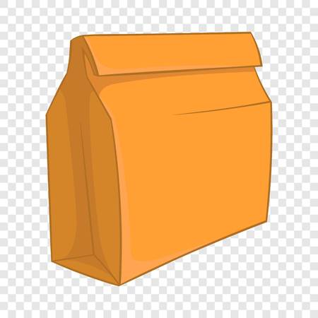 Paper bag with lunch icon, cartoon style