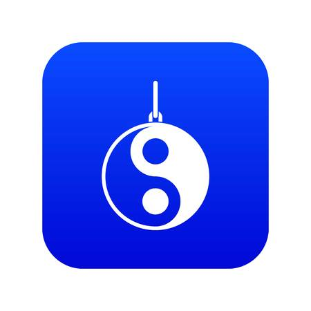 Yin Yang symbol icon digital blue Illustration