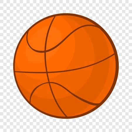 Basketball ball icon in cartoon style