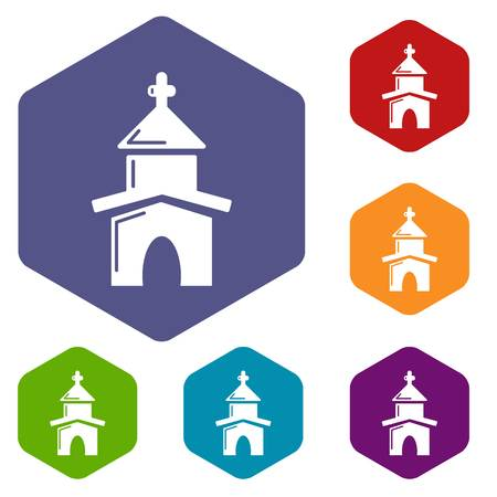 Church icons vector hexahedron