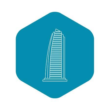 Skyscraper in Dubai icon. Outline illustration of skyscraper in Dubai vector icon for web