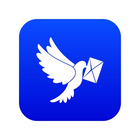 Dove carrying envelope icon digital blue
