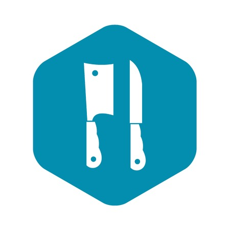 Kitchen knife and meat knife icon in simple style isolated vector illustration