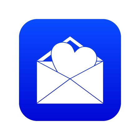 Open envelope with heart icon digital blue for any design isolated on white vector illustration Illustration