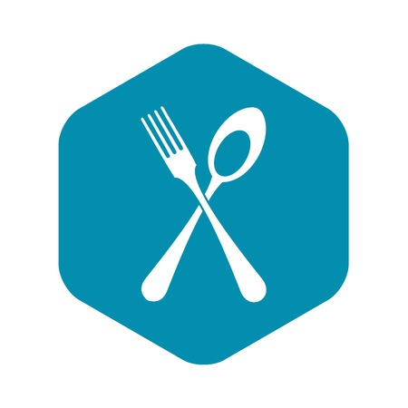 Spoon and fork icon in simple style isolated vector illustration