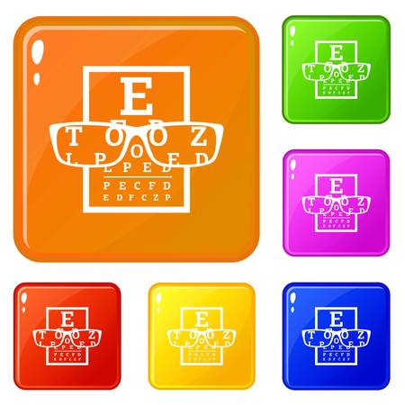Myopia icons set vector color Ilustracja