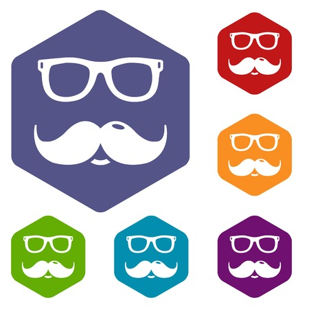 Nerd glasses mustaches icons vector colorful hexahedron set collection isolated on white