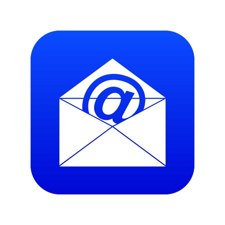Envelope with email sign icon digital blue for any design isolated on white vector illustration