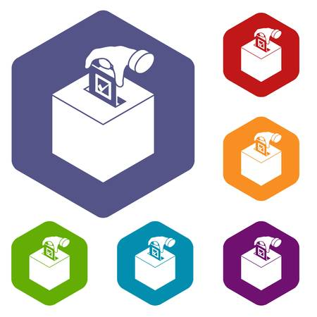 Election box icons vector colorful hexahedron set collection isolated on white