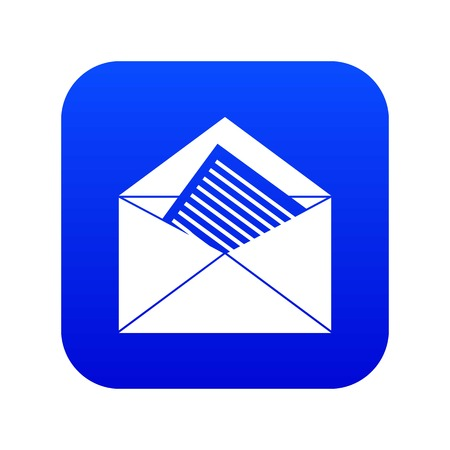 Open envelope with sheet of paper icon digital blue
