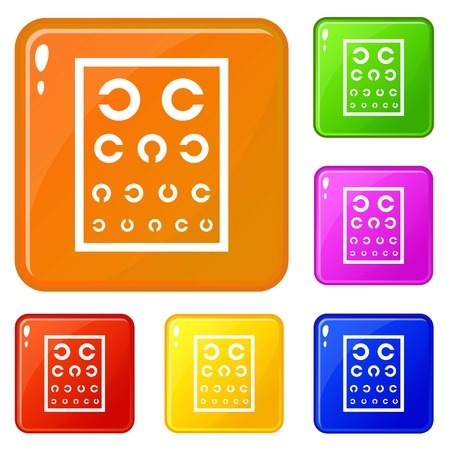 Ophthalmology tablet icons set vector color Ilustracja