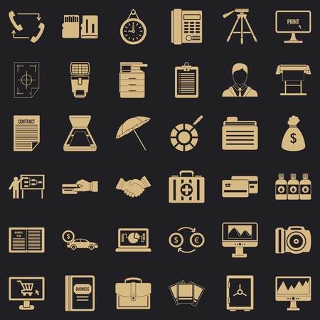 Building department icons set, simple style