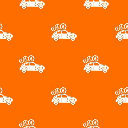 Car on credit pattern vector orange