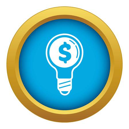 Economy money bulb icon blue vector isolated