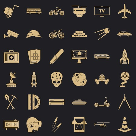 Development in progress icons set, simple style