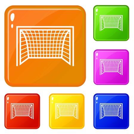 Goal football icons set vector color