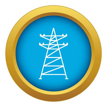 Electric tower near house icon blue vector isolated on white background for any design