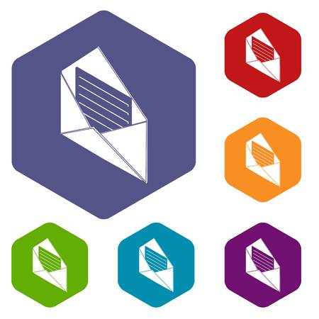 Open envelope icons vector colorful hexahedron set collection isolated on white Illustration