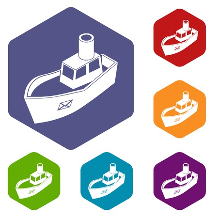 Sea ship delivery icons vector colorful hexahedron set collection isolated on white Illustration