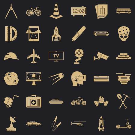 Management icons set, simple style