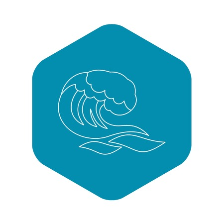 Ocean or sea wave icon. Outline illustration of ocean or sea wave vector icon for web