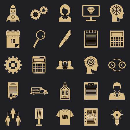 SEO business icons set. Simple set of 25 seo business vector icons for web for any design