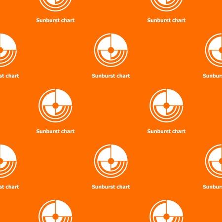 Sunburst chart pattern vector orange