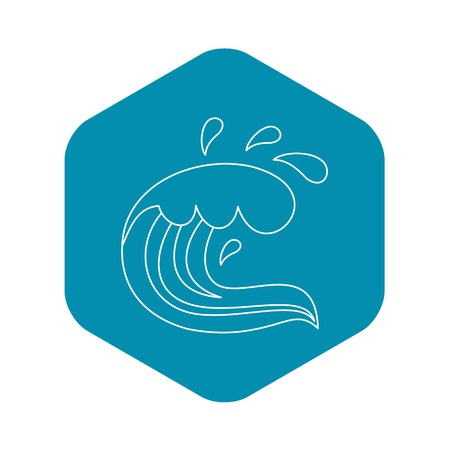 Curling and cracking wave icon. Outline illustration of curling and cracking wave vector icon for web