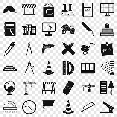 Instrument icons set, simple style