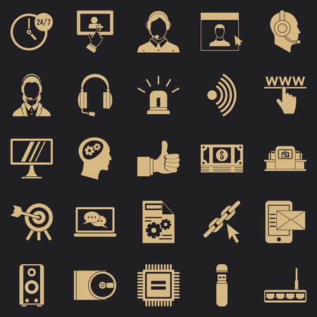 Headphone icons set. Simple set of 25 headphone vector icons for web for any design