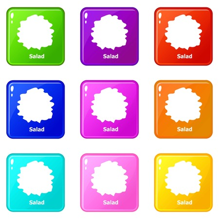 Salad icons set 9 color collection isolated on white for any design Illusztráció