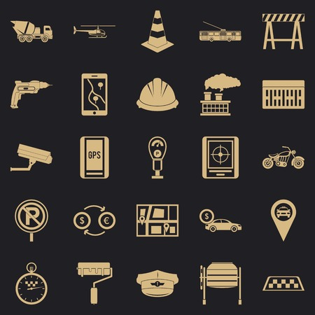 Mechanical engineering icons set. Simple set of 25 mechanical engineering vector icons for web for any design