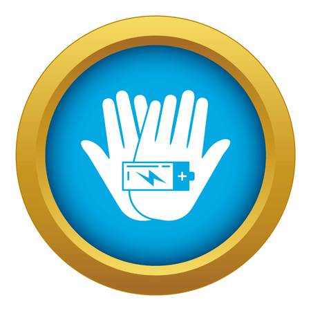 Hand keep battery icon blue vector isolated on white background for any design Illustration