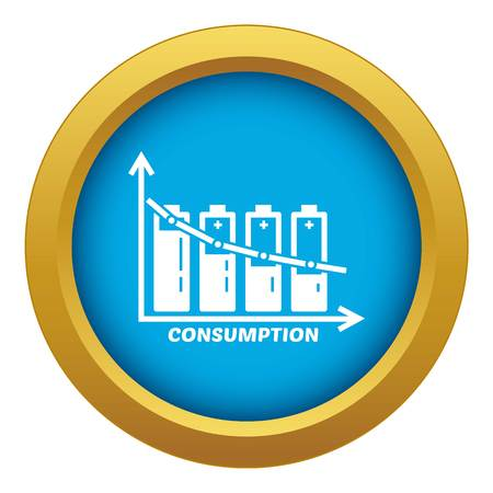 Energy battery consumption icon blue vector isolated on white background for any design