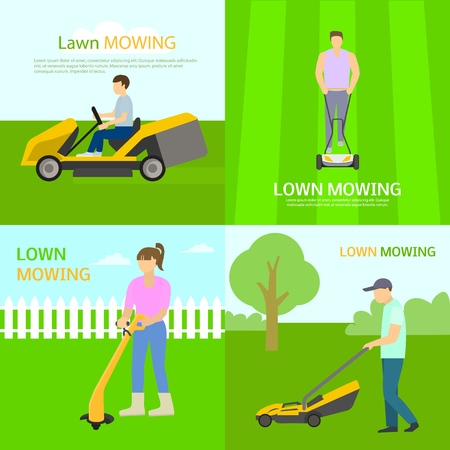 Lawnmower banner set. Flat illustration of lawnmower vector banner set for web design