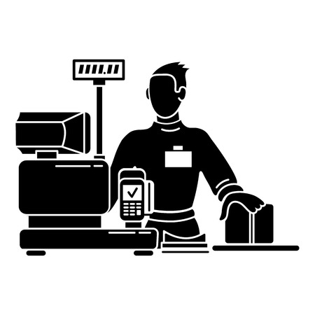 Man cashier icon, simple style