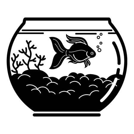 Goldfish aquarium icon. Simple illustration of goldfish aquarium vector icon for web design isolated on white background