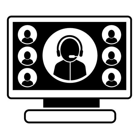 Online-Webinar-Symbol. Einfache Illustration der Online-Webinar-Vektorikone für das Webdesign lokalisiert auf weißem Hintergrund Vektorgrafik