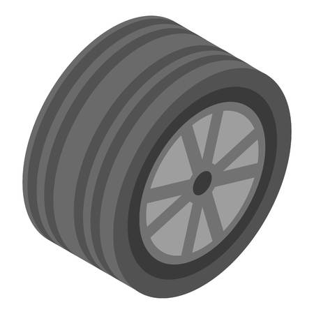 Summer car wheel icon. Isometric of summer car wheel vector icon for web design isolated on white background Stock Illustratie