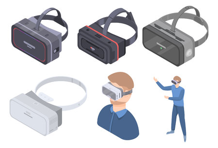 Game goggles icons set, isometric style