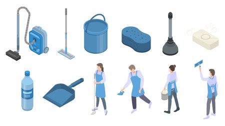 Sauberere Ausrüstungssymbole gesetzt. Isometrischer Satz von saubereren Ausrüstungsvektorikonen für das Webdesign lokalisiert auf weißem Hintergrund