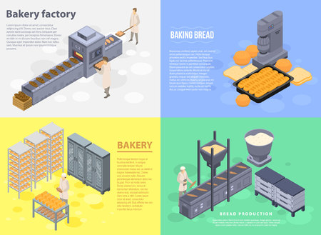 Food bakery factory banner set. Isometric set of food bakery factory vector banner for web design