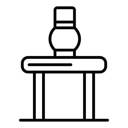 Potter jug on table icon, outline style