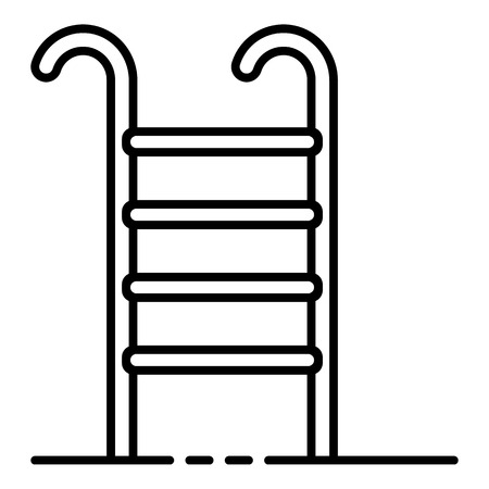 Pool staircase icon, outline style 向量圖像