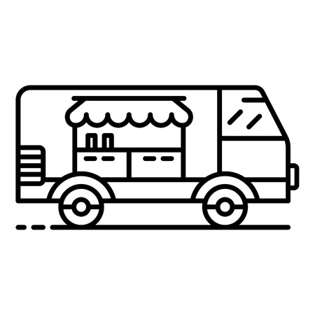 Fast food vehicle icon. Outline fast food vehicle vector icon for web design isolated on white background
