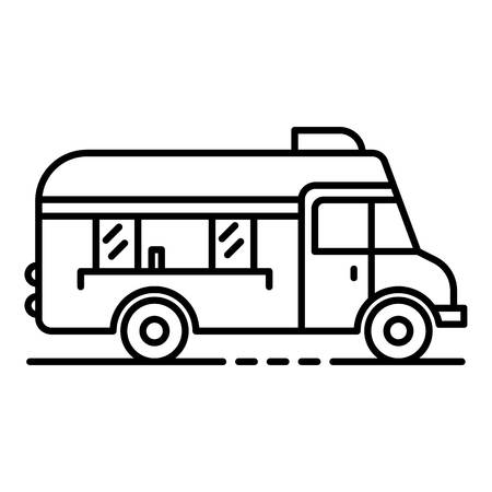 Fast food truck icon. Outline fast food truck vector icon for web design isolated on white background