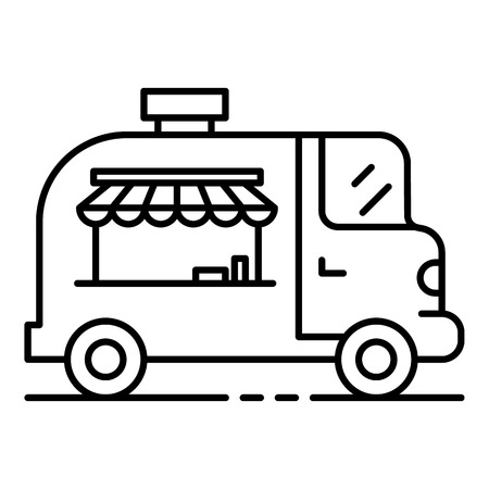 Street food vehicle icon. Outline street food vehicle vector icon for web design isolated on white background
