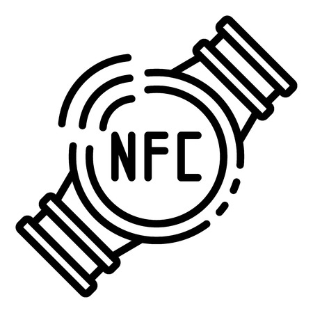 Nfc smart watch icon, outline style