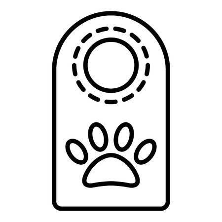 Pet hotel door tag icon. Outline pet hotel door tag vector icon for web design isolated on white background